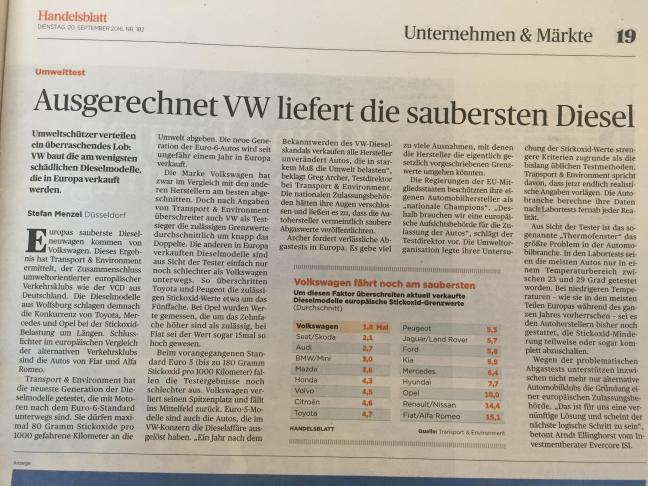 Ausgerechnet VW liefert die saubersten Diesel